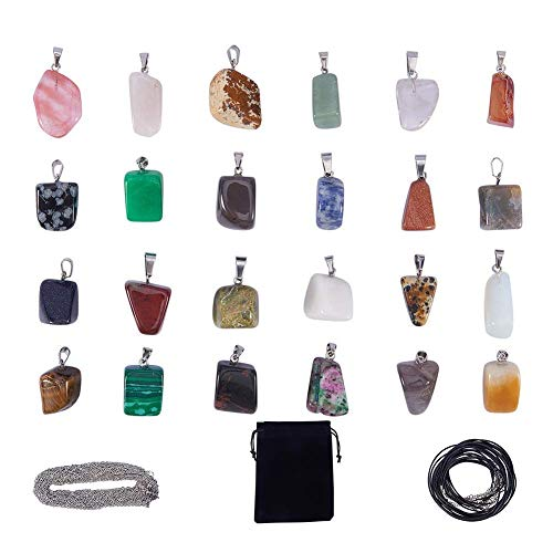 SUNNYCLUE 24pcs Irregular Shape Healing Gemstone Chakra Beads Pendants Crystal Stone Charms & 12pcs Imitation Leather Cord Necklace & 12pcs Cross Chains & Velvet Pouches for Necklace Jewelry Making
