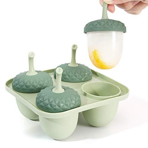 Nuovoware Mini Moldes Helados de Plástico, Moldes de Congelador para Helados y Aperitivos, Molde Reutilizable para Niños - Rosa