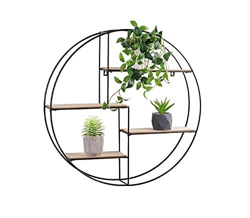 UKIYO Estantería de pared redonda de madera y metal negro con 4 baldas, 55 x 11 cm