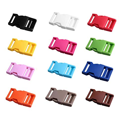 Hebilla de plástico, 30 hebillas de plástico ajustables resistentes utilizadas en maletas, collares de perro (mezcla de colores)