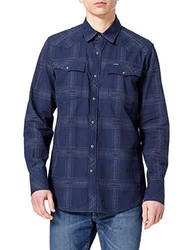 G-STAR RAW 3301 Slim Camisa, Imperial Blue Ethan Check C649-c311-Reloj de Mesa, XL para Hombre