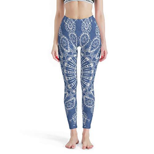WJunglezhuang lange leggings yoga sportbroek dames blauwe etnische mandela joggingbroek voor stretch workout wit m