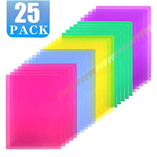 Sooez Clear Document Folder Project Pockets, 25 Pack Clear Plastic Folders Letter Size Plastic Document Folders US Paper Poly Jacket Sleeves Folders Copy Safe, 5 Assorted Colors