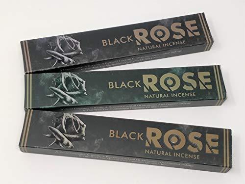 3 X Noir Rose NEUF Lune Bâtons d'encens avec gratuit souvenir badge par Sterling Effectz