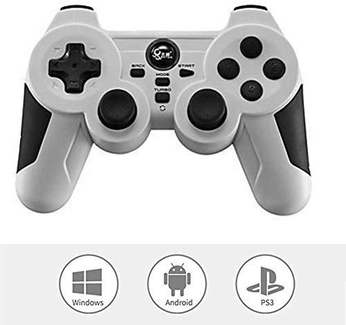 ZGYQGOO Compatibilité pour Android/PC / PS3, Manette Jeu à Vibrations sans Fil, Manette Jeu sans Fil pour contrôleur Jeu, combiné Manette Jeu à Chargement rapiUSB, émetteur-récepteur Bluetooth, Blanc