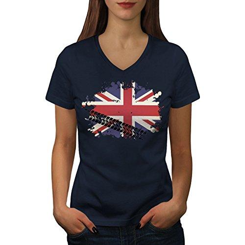 wellcoda Union Jack Flagge London Vereinigtes Königreich Frau V-Ausschnitt T-Shirt Großbritannien Grafikdesign-T-Stück