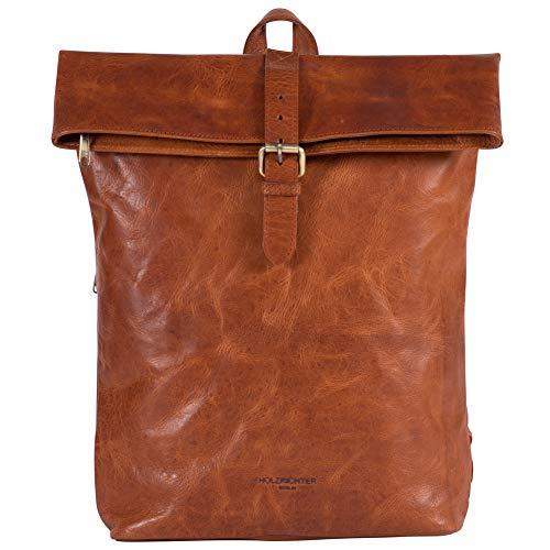 HOLZRICHTER Berlin Rolltop Rucksack No 4-2 aus Leder - Premium Daypack im Vintage-Look...
