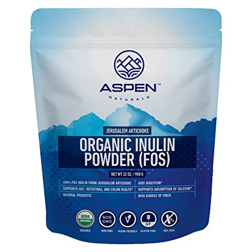 ASPEN NATURALS Organic Inulin Powder for Digestive Health - Non-GMO, 32 oz, Made from Jerusalem Artichoke - Natural Prebiotic and Fiber Powder