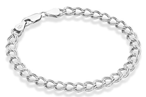 Miabella 925 Sterling Silver Italian 6mm, 7.5mm Double Curb Link Chain Bracelet for Women Men, 6.5, 7, 7.5, 8 Inch Charm Bracelet Made in Italy