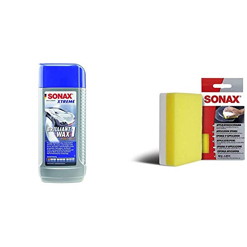 SONAX Xtreme BrilliantWax 1 Hybrid NPT, 250 ml & ApplikationsSchwamm (1 Stück) zum Auftragen und Verarbeiten von Polituren, Wachsen, Kunststoffpflegemitteln etc. | Art-Nr. 04173000
