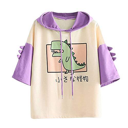 RUNYN Camiseta con capucha para mujer, estilo japonés,...