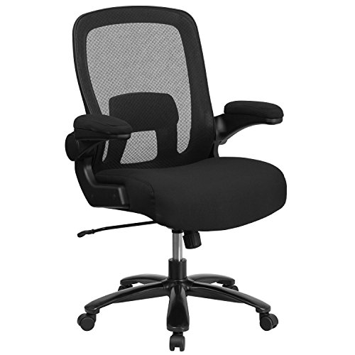 Flash Furniture Big & Tall Office Chair | Black Mesh Executive Swivel Office Chair with Lumbar and...