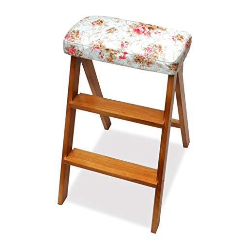 WEIFAN-Furniture Massivholz Klappstühle Tragbare Klappleitern Kiefer Klappstühle Haushalt Geeignet Für Küche Garten Gepolstert Waschbar (Pfingstrose Blume)