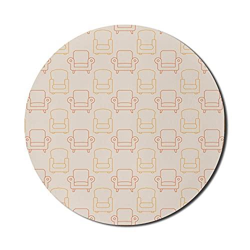 Retro Mauspad für Computer, Sessel Muster von Wohnobjekten Vintage Sitze Bequeme Stühle Druck, Runde rutschfeste dicke Gummi Modern Gaming Mousepad, 8 \'Runde, Champagner Orange Rost