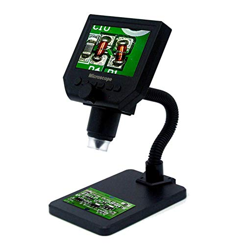 NTT Microscopio Digital LCD de 4.3 Pulgadas, con luz Ajustable de 8 LED, Pantalla electrónica de Aumento 600X, largas Horas de Trabajo, la Estructura es Simple, fácil de Instalar