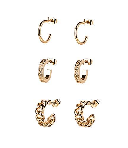 TOSH 3er Set goldglänzende Creolen mit Strasssteinen (792-506)