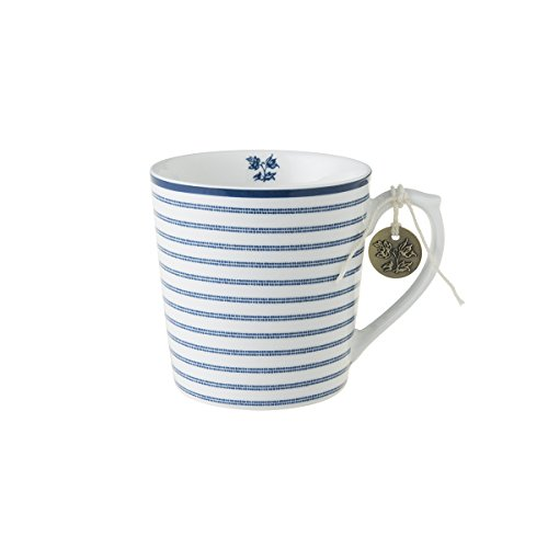 Laura Ashley - Henkelbecher, Henkeltasse, Tasse - Blueprint Candy Stripe - 12 x 8,9 cm - Groß