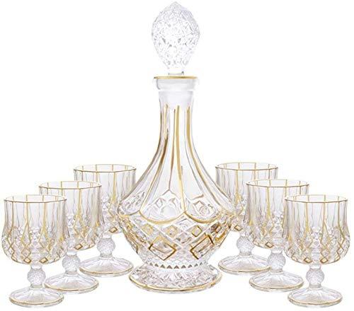 Licorera Casual 7-PC Decanter De 750 Ml De Copa De Vino con Tapa De Whisky Botella Dorado con 6 Vidrio Vintage Vodka Bourbon Botella Casa Casa Fiesta MUMUJIN