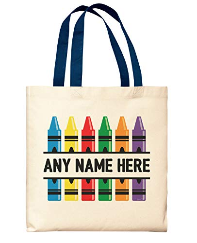 Art Teacher Gifts Crayons Add Teachers Name Teaching Bag Personalized Navy Handle Canvas Tote Bag