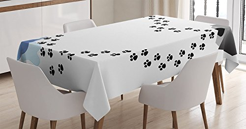 Ambesonne Dog Lover Tablecloth, Puppy Love Heart Shaped Trail of Paw Prints Bone Kennel Water Drops, Rectangular Table Cover for Dining Room Kitchen Decor, 60