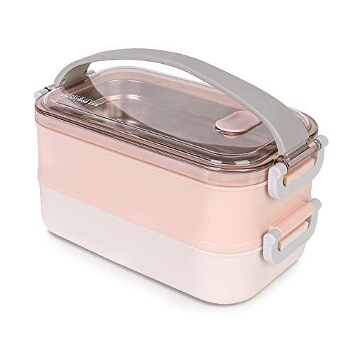 Melisen Lunchbox - Brotdose mit Fächern Praktische Bento Box mit Edelstahlsbehälter Die doppelschichtige Brotdose für Schule Arbeit Picknick Reisen Unterwegs (Rosa)