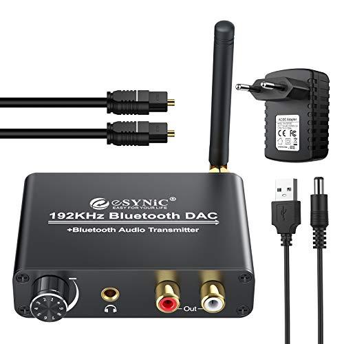 ESYNiC DAC 192KHz con Bluetooth 5.0 Trasmettitore per TV Cuffie Altoparlante Bluetooth Convertitore Audio Digitale ad Analogico Volume Regolabile Supporta aptX Bassa Latenza con Alimentatore