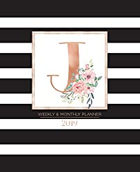"Weekly & Monthly Planner 2019: Black and White Stripes with Rose Gold Monogram Letter J and Pink Flowers (7.5 x 9.25"") Vertical Striped AT A GLANCE Personalized Planner for Women Moms Girls and School"