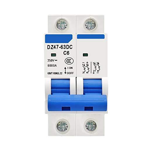 LUOXUEFEI Disyuntor Diferencial Interruptor Disyuntor 2P Dc 250V6A 10A 16A 20A 25A 32A 40A 50A 63A Dc