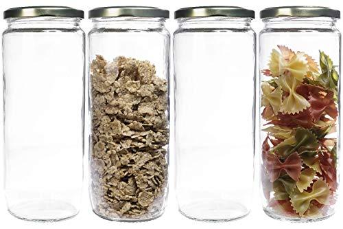Mikken Lot de 4 bocaux de conservation en verre avec fermeture à vis Transparent 1,1 l