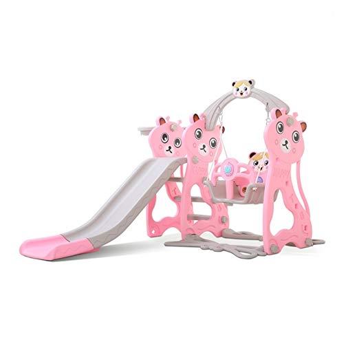 Youpin Tobogán y balanceo de plástico para niños con MP3, canasta de baloncesto, combinación de canasta de baloncesto para niños, interior y exterior, jardín de infancia, parque de juegos (color rosa)