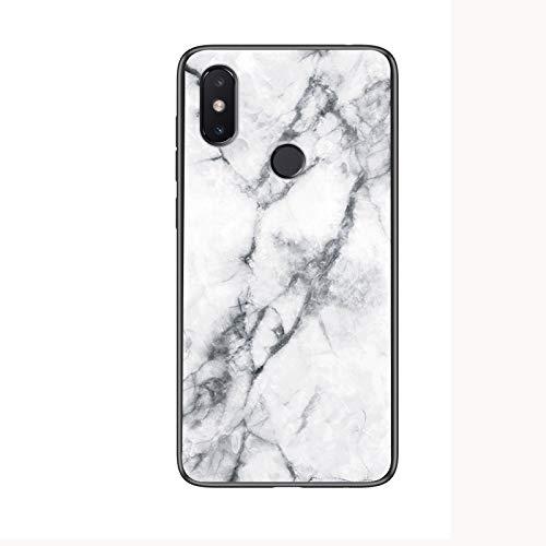 Xiaomi Redmi S2 Hülle,Marmor Gehärtetem Glas und Silikon Rand Hybrid Hardcase Stoßfest Kratzfest Handyhülle Dünn Hülle Cover für Xiaomi Redmi S2 (Weiß)