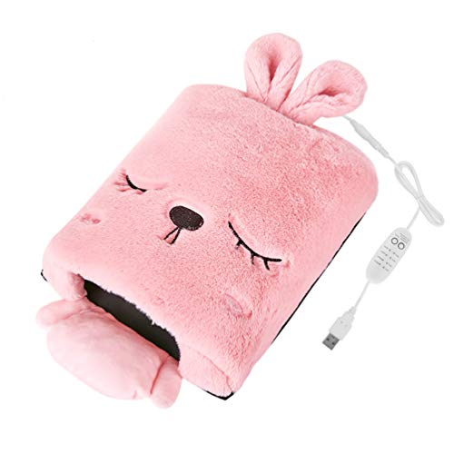 Heated Mouse Pad, BicycleStore USB Heating Mouse Mat Ergonomic Computer Warmer with 4 Temperature and 4 Timing Adjustable Hand-Warming Cute Computer Mouse Pad with Wrist Support for Girls (Pink)