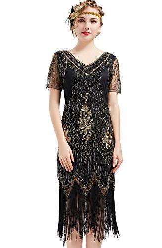 BABEYOND 1920s Kleid Damen Flapper Kleid mit Kurzem Ärmel Gatsby Motto Party Damen Kostüm Kleid (SchwarzGold, 3XL)