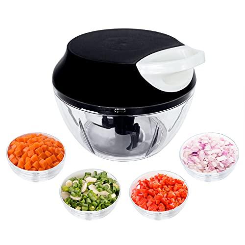 Mini Triturador Processador de alimentos manual alho cebola 3 Lâminas inox 550ml Top, Cor: (Preto)