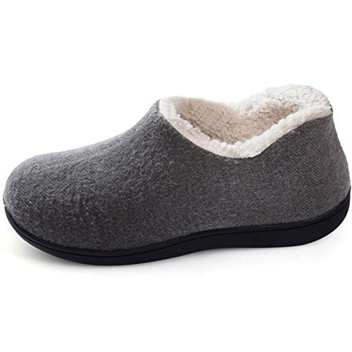ULTRAIDEAS Women's Cozy Memory Foam Closed Back Slippers with Warm Fleece Lining, Wool-Like Blend Cotton House Shoes with Anti-Slip Indoor Outdoor Rubber Sole (Grey,Size 8)