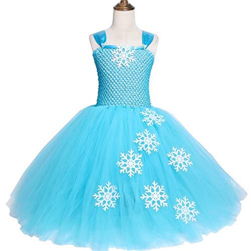 QWER Sky Blauw Meisjes Elsa Tutu Jurk Sneeuwvlok Tule Prinses Jurk Kinderen Verjaardag Feestjurk Meisjes Halloween Kerst Kostuums 2-12y