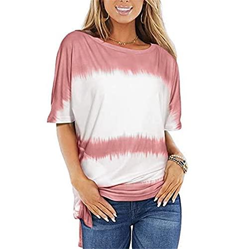Camiseta De Gran Tamaño Mujer Verano Elegante Suelta Moda Tops Cuello Redondo Manga Corta Camisetas Sexy Camisetas Sencillas Tela Suave Camisetas Lindas De Las Señoras E-Wine Red 5XL