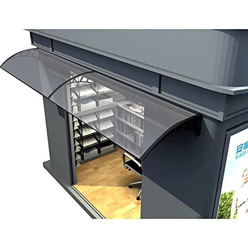 Pensilina Copriporta, Tetto antipioggia silenzioso Tendalino portico anti-uv Parcheggio Rain Snow Shelter, Installazione contro il muro ( Color : Clear+black , Size : 60x80cm )