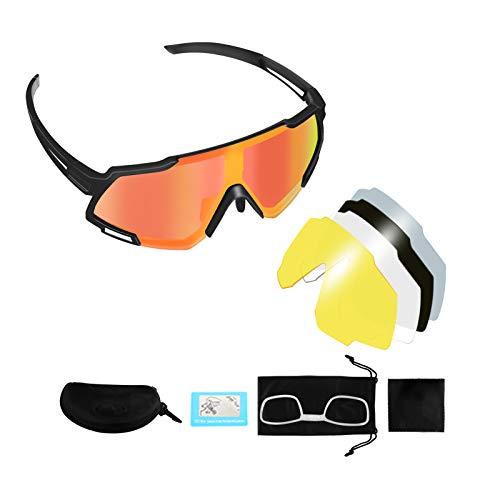 Gafas de Bicicleta KNMY Gafas de sol Polarizadas, con Cinco Lentes de Recambio, Gafas de sol de Pantalla Grande con Puente Nasal Ajustable, Utilizadas Para Andar en Bicicleta, Correr, Escalar, Etc.