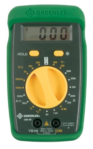 Greenlee DM-40 Manual Ranging 600 Volt Multimeter Checks AC/DC Voltage, DC Amperage and Temperature Measurement