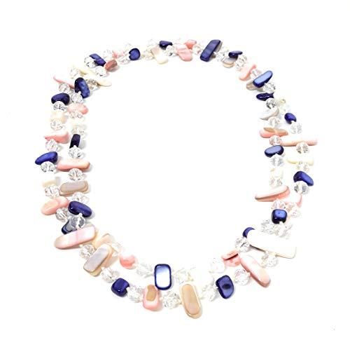 BRANDELIA Collares Largos de Colores Mujer Bisutería de Nácar y Perlas de Cristal, Marítimo