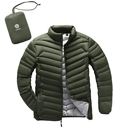LAPASA Men's Packable Down Jacket with Zipper Pockets Lightweight Winter Outerwear Duck Down-Filled M32 (Olive Drab, Large)
