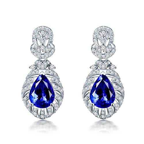 Adisaer Earring 18K Gold for Women,Women Earrings Modern Water Drop White Gold Earring Women 18K White Gold Dangle Earrings 3 CT Tanzanite and 0.86 CT Diamond