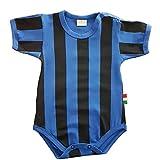 Zigozago Body Made in Italy a Manica Corta a Righe Nero Azzurro Stampate Fatto a Mano in Cotone - Taglia 0-1 Mese 50-56 cm, Colore Azzurro