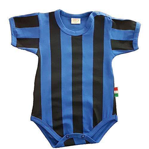Zigozago Body Made in Italy a Manica Corta a Righe Nero Azzurro Stampate Fatto a Mano in Cotone - Taglia 18-24 Mesi 86-92 cm, Colore Azzurro