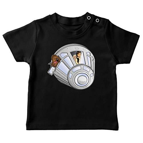T-Shirt bébé Noir Parodie Star Wars - Han Solo et Chewbacca - Star Dog : (T-Shirt de qualité Premium de Taille 18 Mois - imprimé en France)