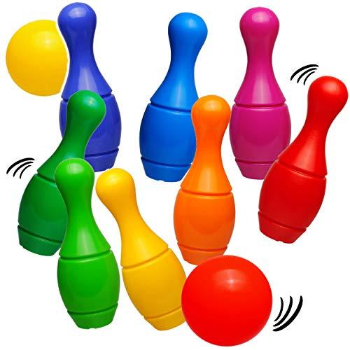 alles-meine.de GmbH Kegeln & Bowling - Kegelspiel / Bowlingspiel - 16 Kegel + 4 Bälle - aus Kunststoff / Plastik - für Außen + Innen - mit Sand befüllbar - für Kinder / Erwachsen..