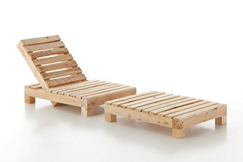 BOLTAMBOLTA - Tumbona de jardín o terraza. Mueble de Madera Natural de Pino Macizo para Exterior. Opción con o sin cojín, Dos Colores a lelegir Blanco o visón - Modelo Cubic (Natural)
