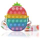 Bdwing Pop Fidget Bolso de Hombro de Juguete, Bolso de Cruzado Burbujas de Empuje, Juguetes sensoriales, Bolso para Niñas y Mujeres, Cumpleaños, Halloween, Navidad (Piña Macaron)