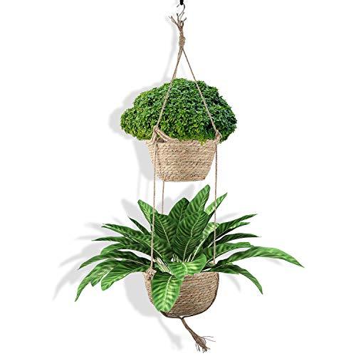 Cesta Colgante para Plantas, Macetas de Flores Colgantes, Maceteros de Algas Naturales de Doble Capa, Maceteros de Interior y Exterior Son Adecuados para la Decoración de Dormitorios Familiares